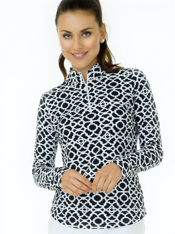 Ladies Mock Neck Long Sleeve Shirt