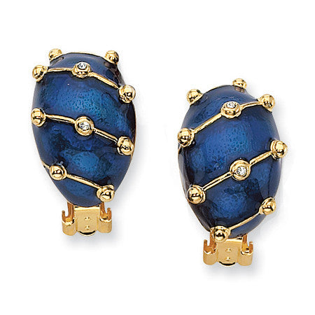 Jackie Kennedy Blue enamel earrings