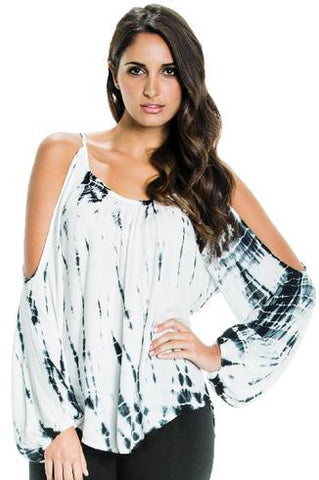 Elan Resort Black and White tie dye cold shoulder top