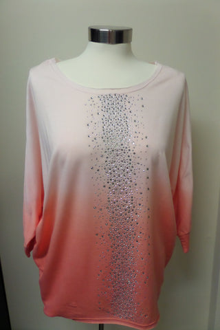 Coral Ombre Sparkle Tunic Top