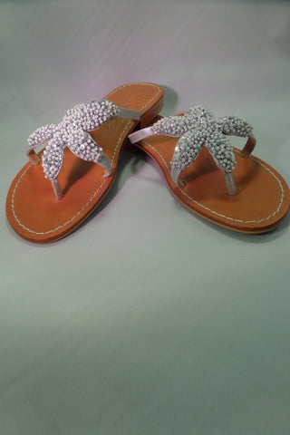 Silver Starfish Leather Sandals