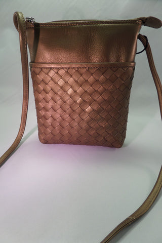 Bronze leather cross body handbag