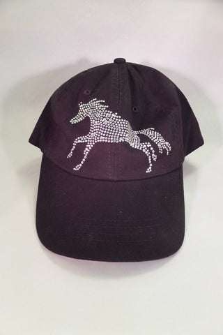 Black crystal bling horse baseball hat