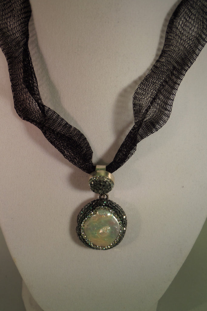 Sterling silver pearl druzy pendant necklace