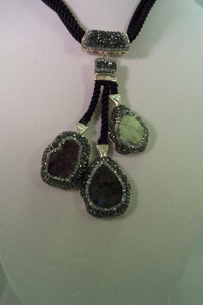 Sterling Silver, Green opal, labradorite and amethyst druzy necklace