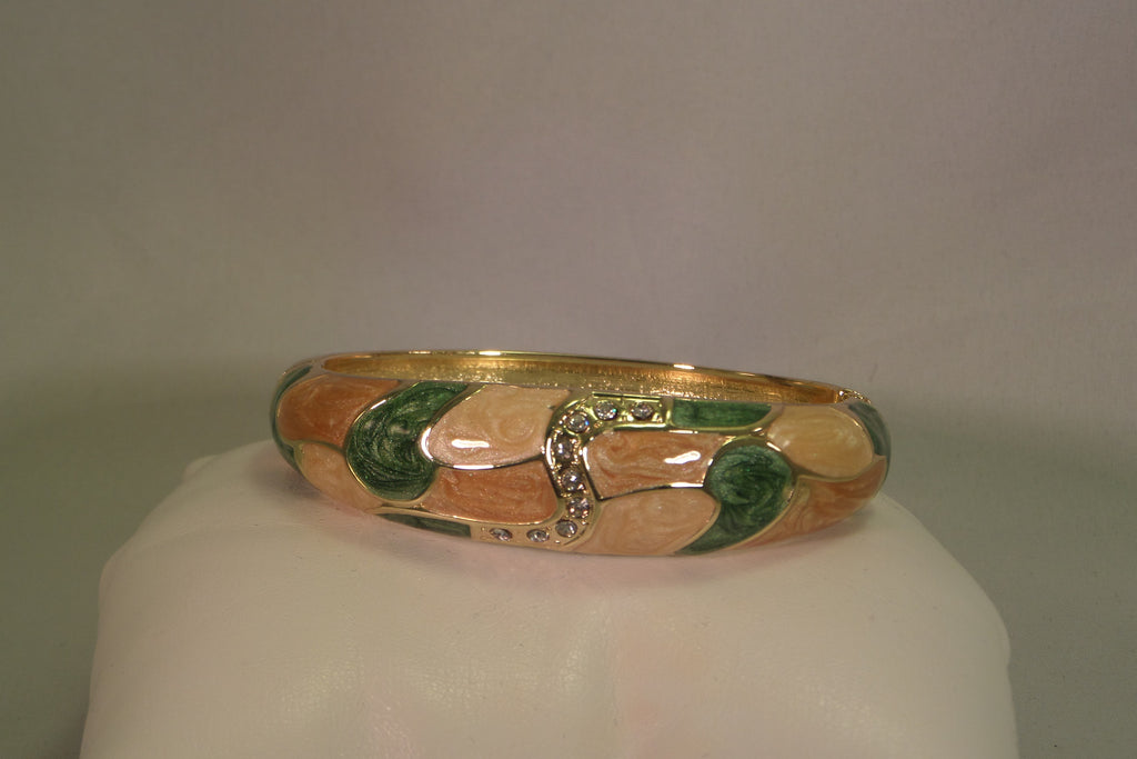 Green and peach bangle bracelet