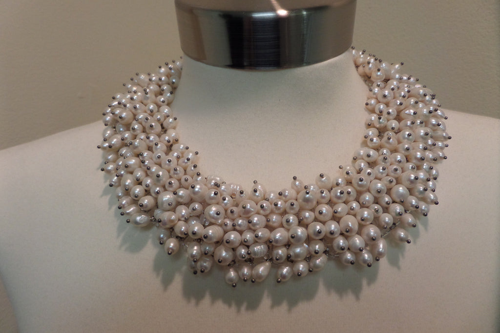 Hand Beaded Pearl Collar Necklace