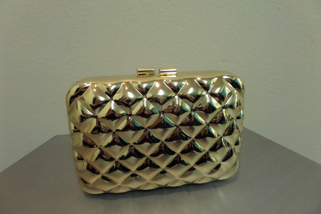 Gold Quilted Clutch Handbag