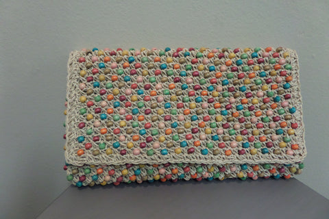 Beaded Woven Straw Clutch