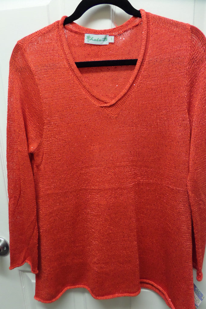 Island Coral V Neck Knit Sweater