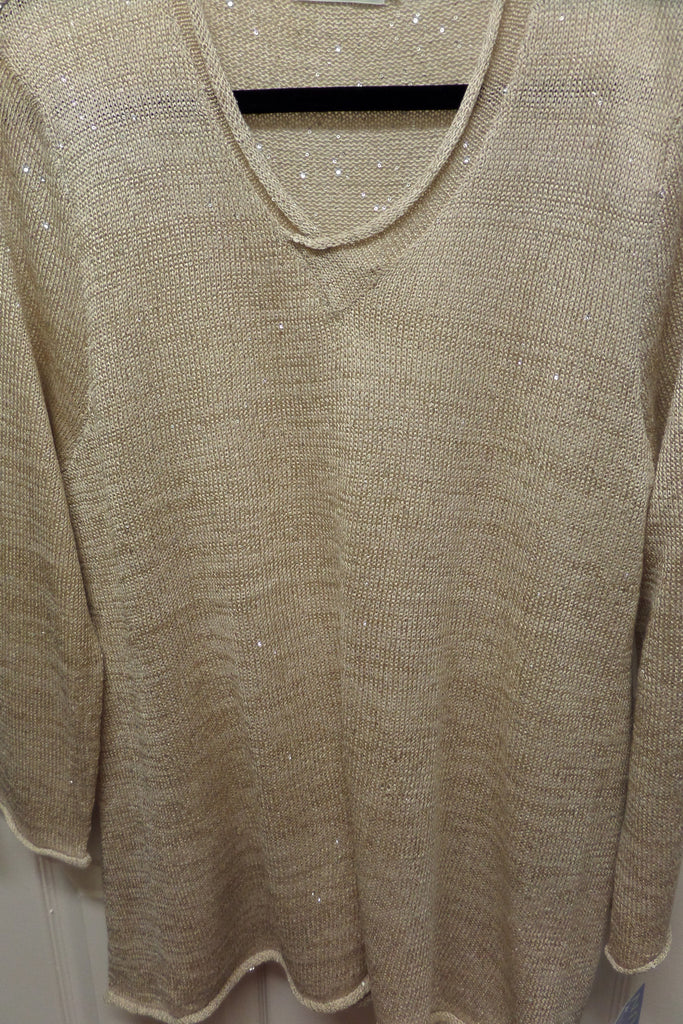 Golden Sand V Neck Knit Sweater