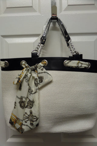 White Woven Beach Tote Purse