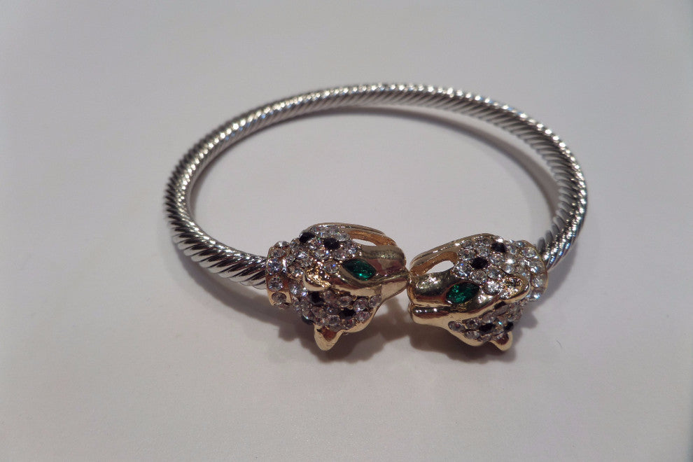 Jeweled Lion Head Cable Cuff Bracelet