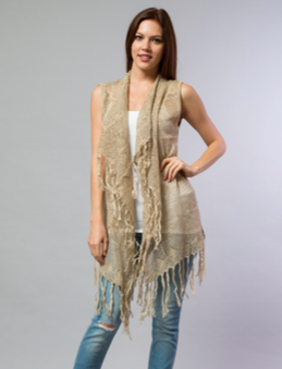 Golden Sand Knit Fringe Vest