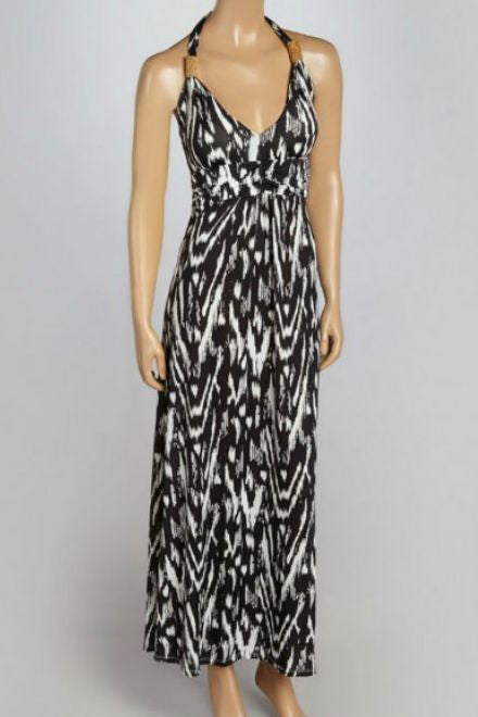 Black and White Halter Maxi Dress