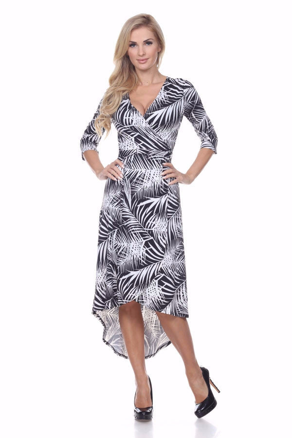 Hawaiian Palm Leaf Print High Low Wrap Dress