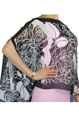 Silky Crystal Button Poncho, Scarf, Dress Topper