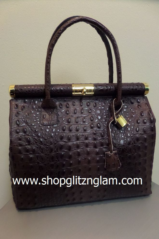 Brown Croc Italian Leather Handbag