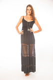 Emberly Black Lace Illusion Maxi Dress