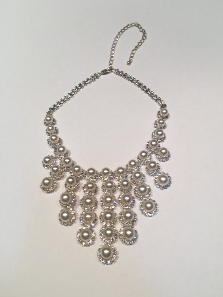 CRYSTAL FAUX PEARL CASCADING BRIDAL NECKLACE
