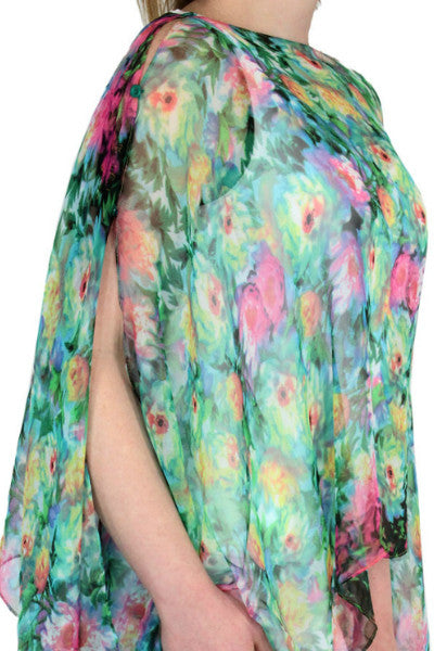 SILKY PONCHO, SCARF, DRESS TOPPER FLORAL