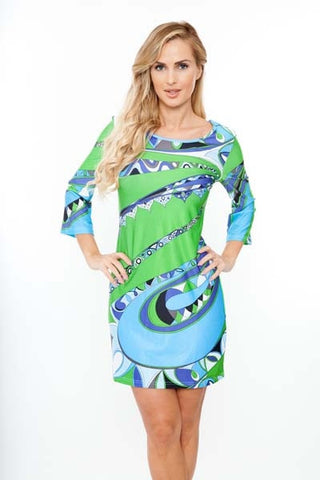 BLUE GREEN PRINT SHIFT DRESS