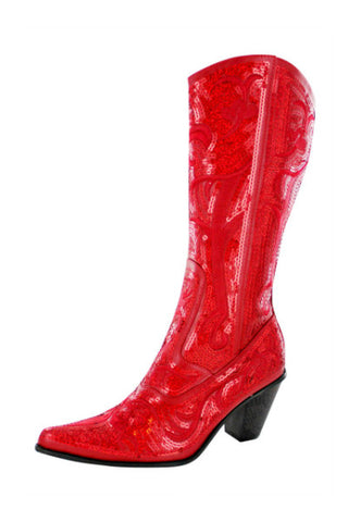 Helen's Heart Red Tall Bling Boot
