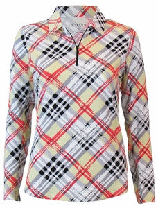 TAN ENGLISH PLAID CLASSIC POLO SHIRT