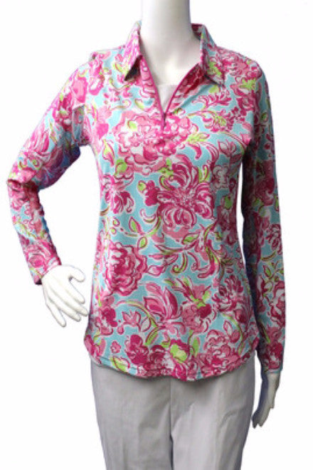 Ladies Pink and Green Floral Classic Polo Collar Shirt