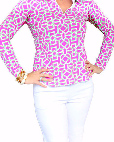 Ladies Pink and Green Bamboo V Neck Shirt