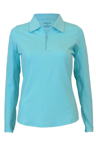 Icikuls Ladies Seafoam Classic Polo Collar Long Sleeve Shirt