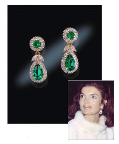 Jackie Kennedy Green cubic zirconia dangle earrings.