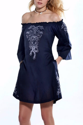 Navy Blue Off-shoulder Embroidery Dress