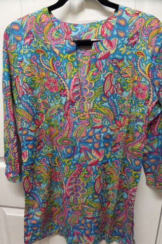 Mosaic print cotton tunic top