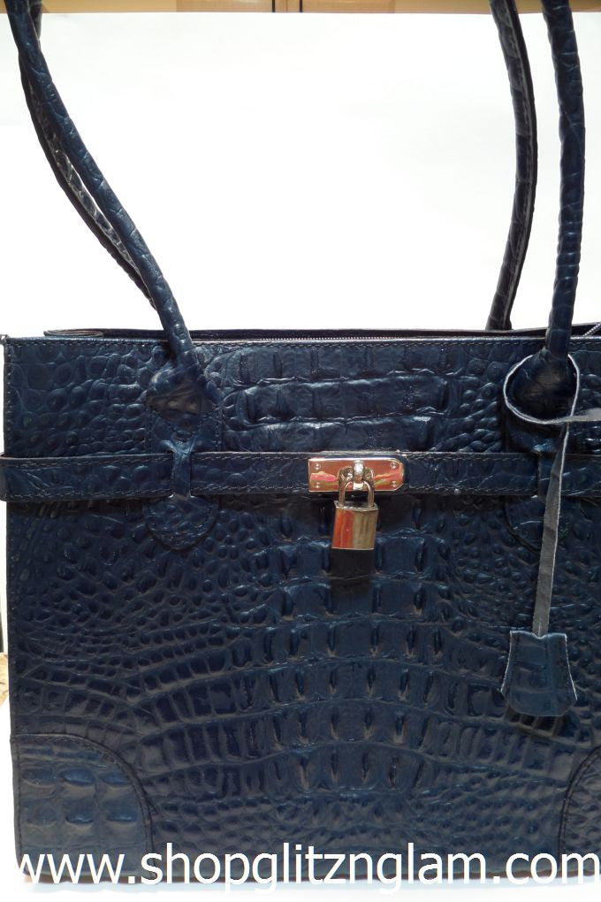 Nautical Navy Blue Italian Leather Handbag
