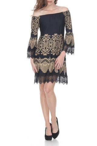 OFF SHOULDER LACE BELL SLEEVE SHIFT DRESS