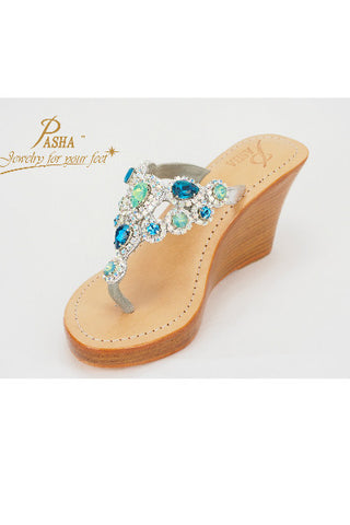 Pasha Capri Aqua turquoise leather wedge sandal
