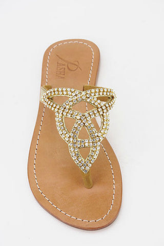 Pasha Tahiti Gold Leather Sandals