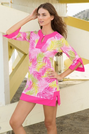 Pink Green Palm Swimwear Cover Up