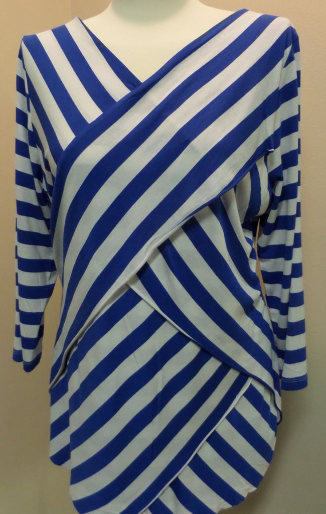 Royal Blue White Stripe Top