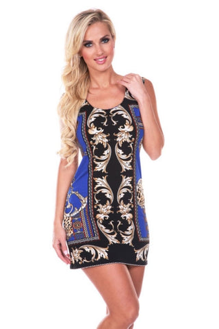 Venetian Gold Scroll Sheath Dress