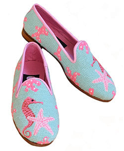 Seahorse and Starfish Needlepoint Loafer