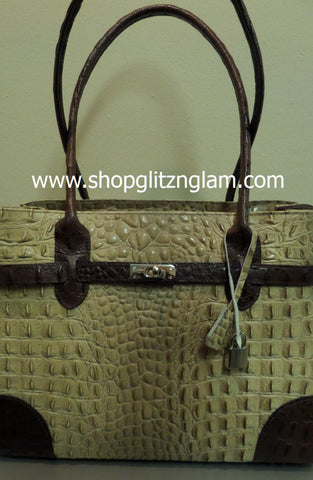 Brown and Tan Italian Leather Handbag