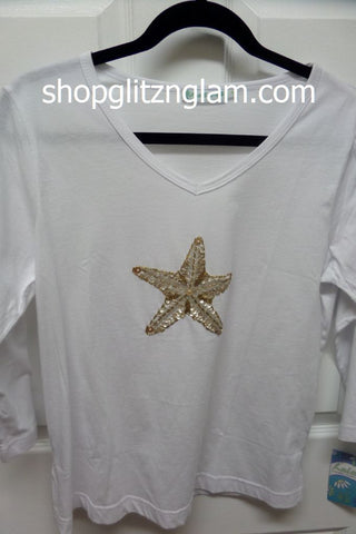 Beachy White Starfish Top