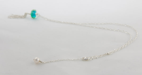 LBI Beach Sand Bead Tassel Necklace with Pearl extender —The C Glass Studio