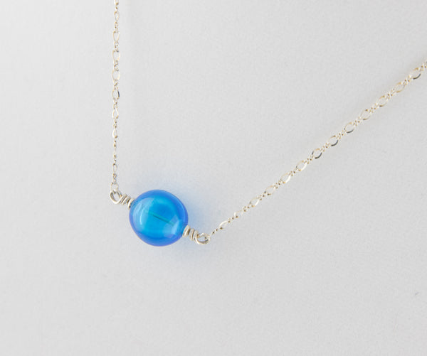 Blue Bubble Bead Necklace —The C Glass Studio