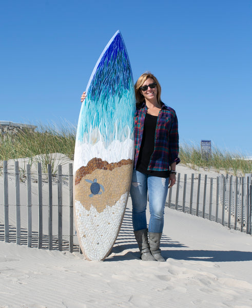 Take me to the Sea Mosaic Surfboard —The C Glass Studio