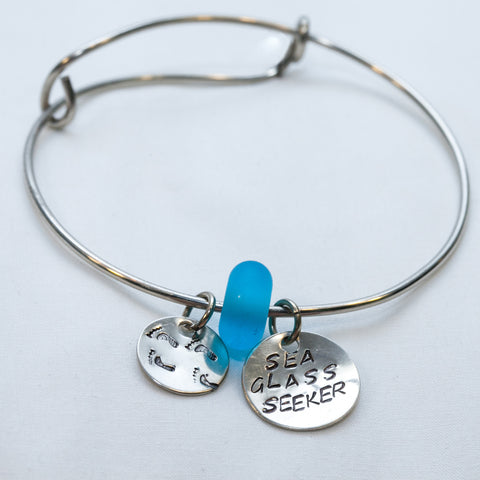 Dark Blue Sea Glass with Footprints and Sea Glass Seeker Charm Wire Bracelet —The C Glass Studio