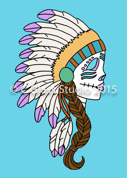 Native American Day of the Dead with Brown Hair —The C Glass Studio