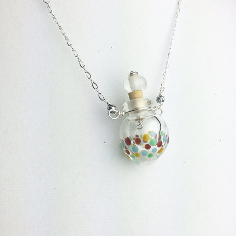 Vessel Bead Necklace with multi color dots —The C Glass Studio